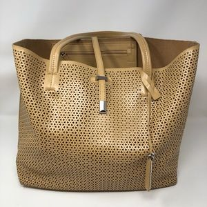 Vince Camuto Leila Laser-Cut Leather Tote Sand
